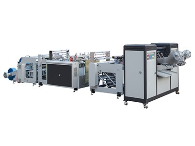 Double lines roll bag making machine with auto label device